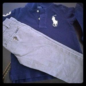 Ralph Lauren Polo shirt and pants w belt
